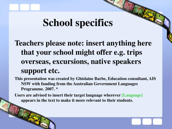 School specifics