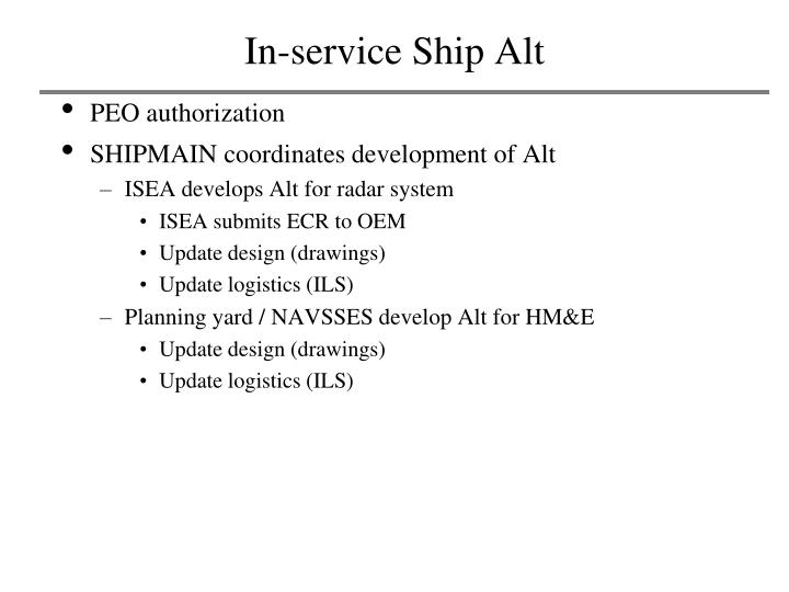 In-service Ship Alt