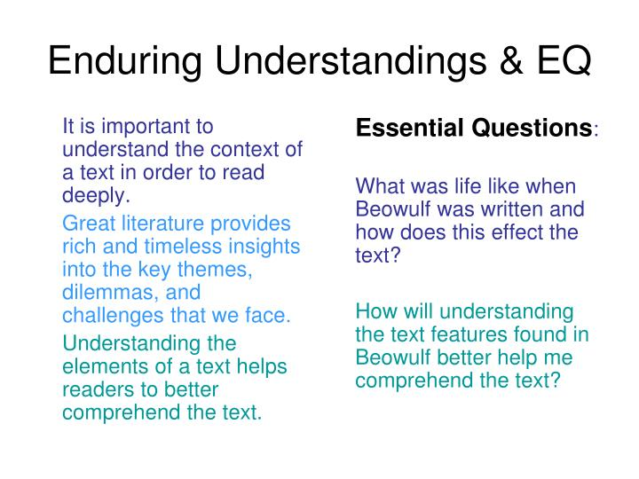 Enduring Understandings & EQ