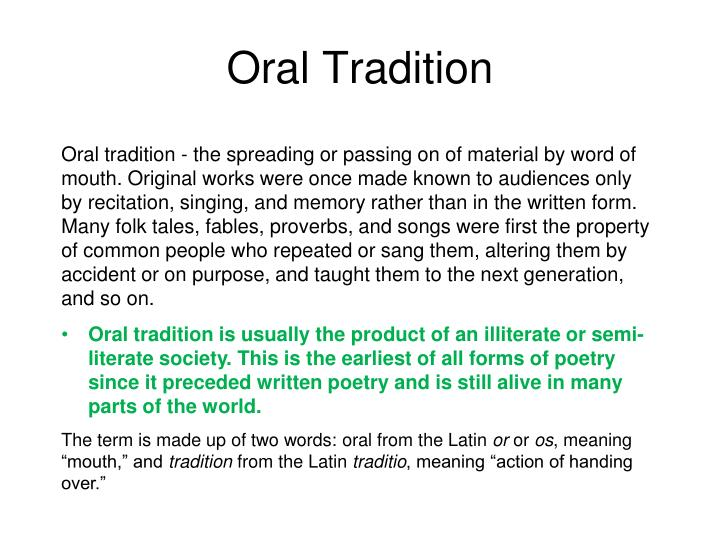 Oral Tradition