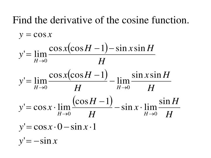 Find the derivative of the cosine function.