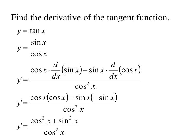 Find the derivative of the tangent function.