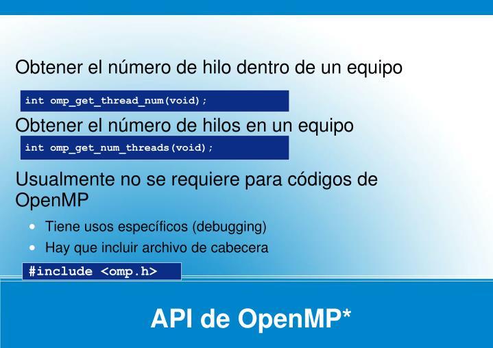API de OpenMP*
