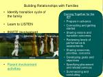 building relationships with families