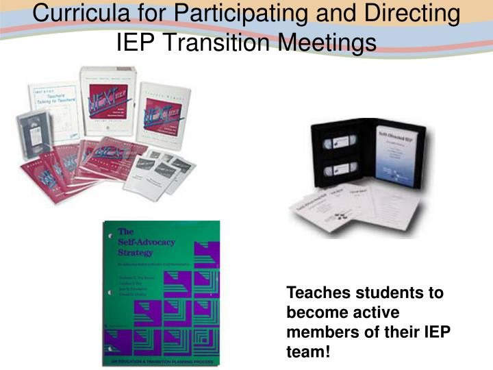 Curricula for Participating and Directing IEP Transition Meetings