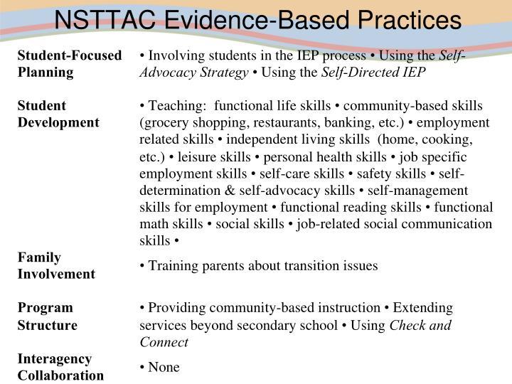 NSTTAC Evidence-Based Practices
