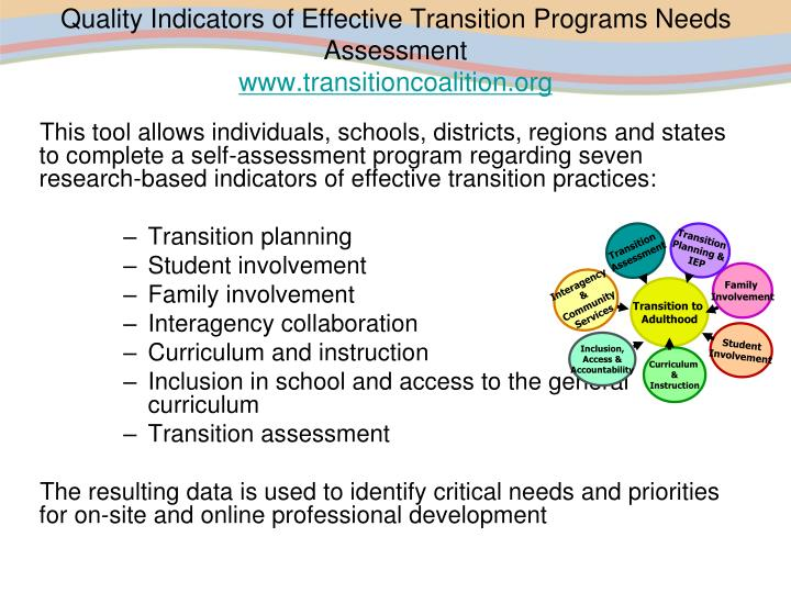 Quality Indicators of Effective Transition Programs Needs Assessment