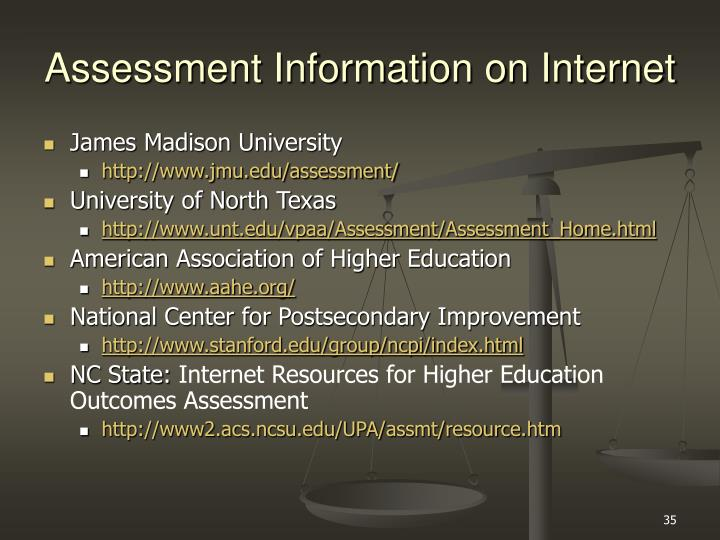 Assessment Information on Internet