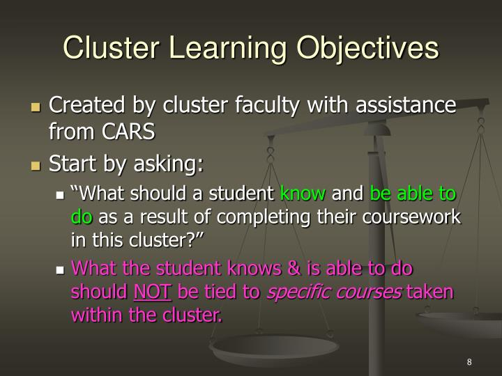 Cluster Learning Objectives