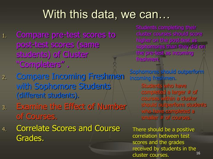 "Compare pre-test scores to post-test scores (same students) of Cluster ""Completers"" ."