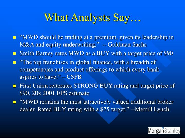 What Analysts Say…