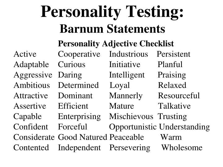 Personality Testing: