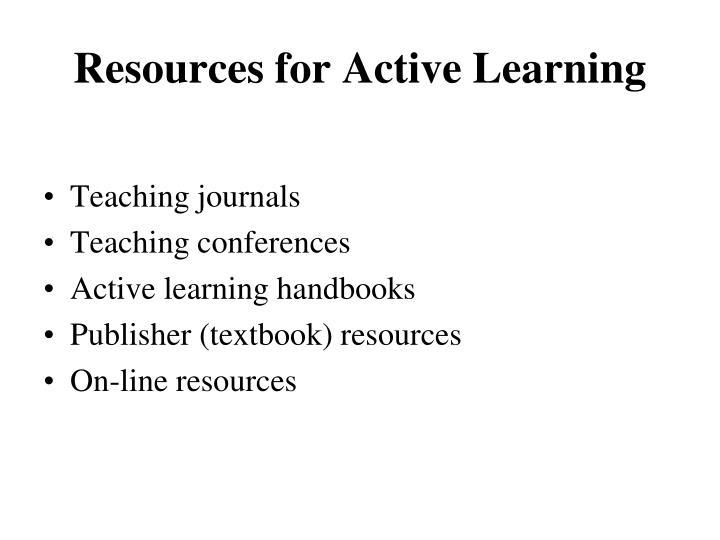 Resources for Active Learning