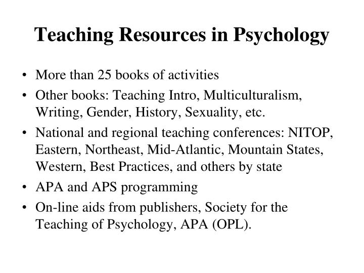 Teaching Resources in Psychology