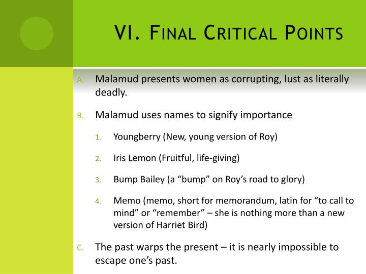 VI. Final Critical Points