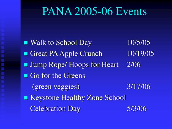 PANA 2005-06 Events