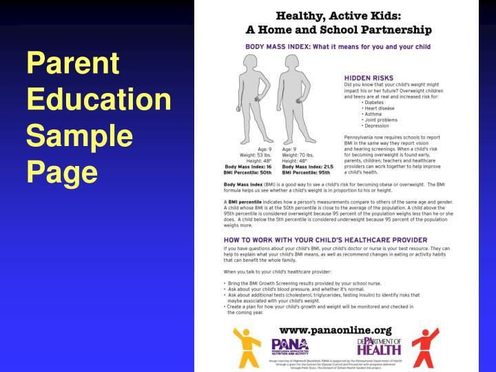 Parent EducationSample Page