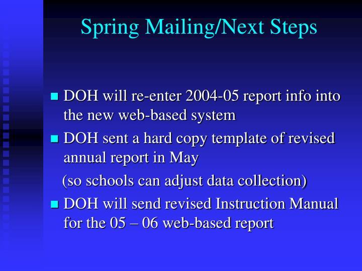 Spring Mailing/Next Steps