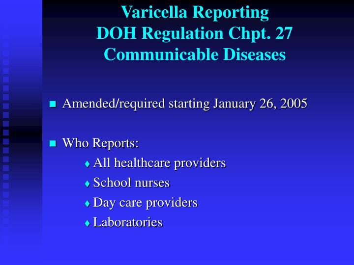 Varicella Reporting