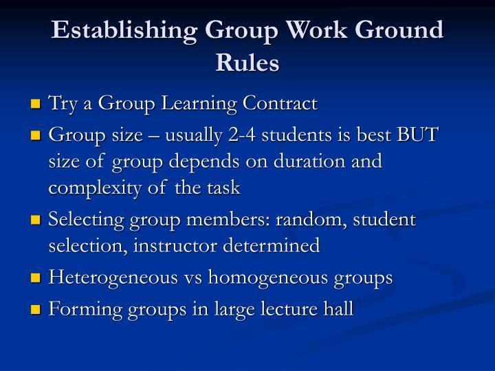Establishing Group Work Ground Rules