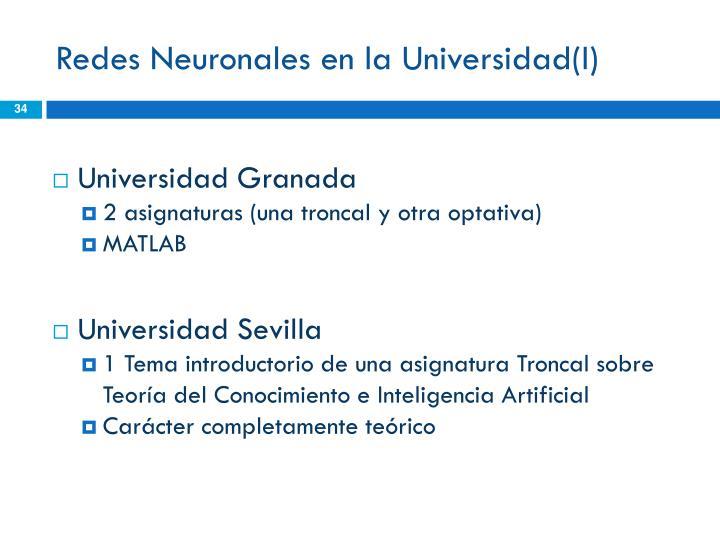 Redes Neuronales en la Universidad(I)