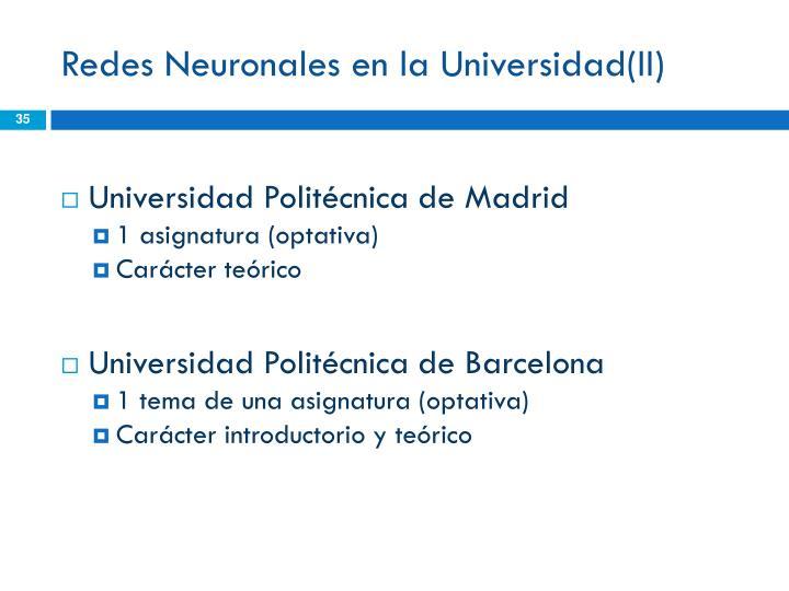 Redes Neuronales en la Universidad(II)
