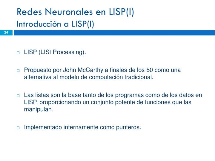 Redes Neuronales en LISP(I)
