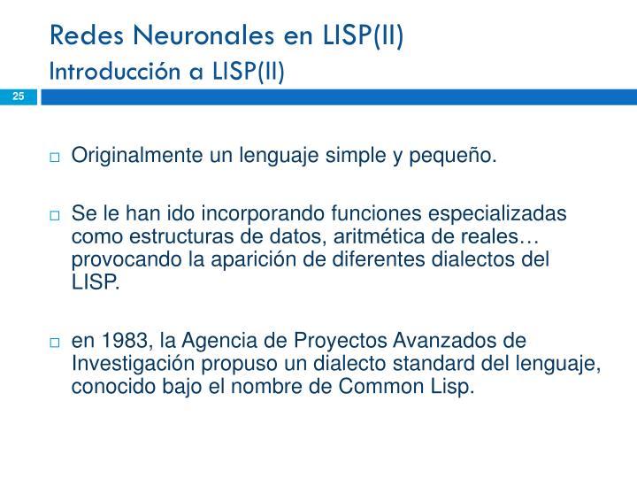 Redes Neuronales en LISP(II)