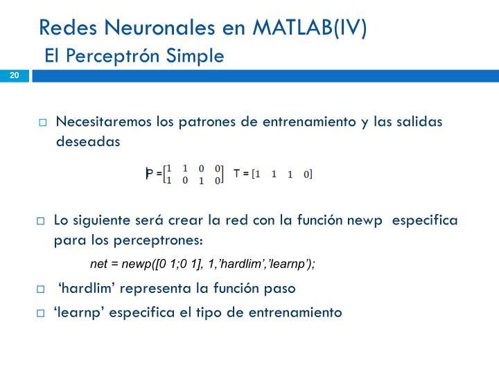 Redes Neuronales en MATLAB(IV)
