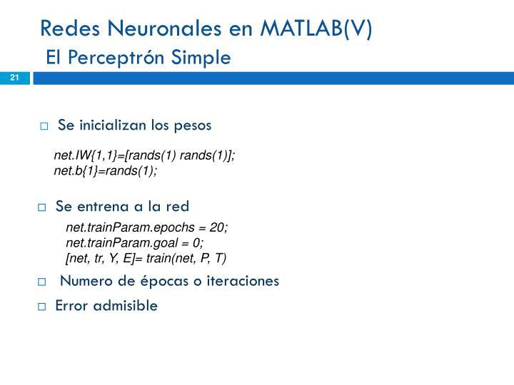 Redes Neuronales en MATLAB(V)