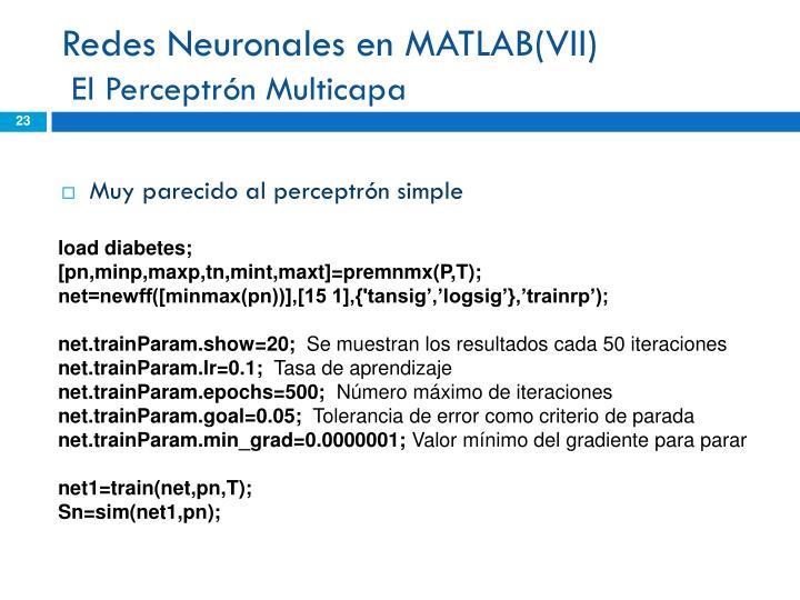 Redes Neuronales en MATLAB(VII)