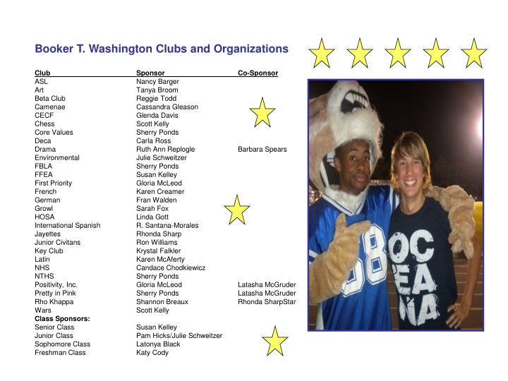Booker T. Washington Clubs and Organizations
