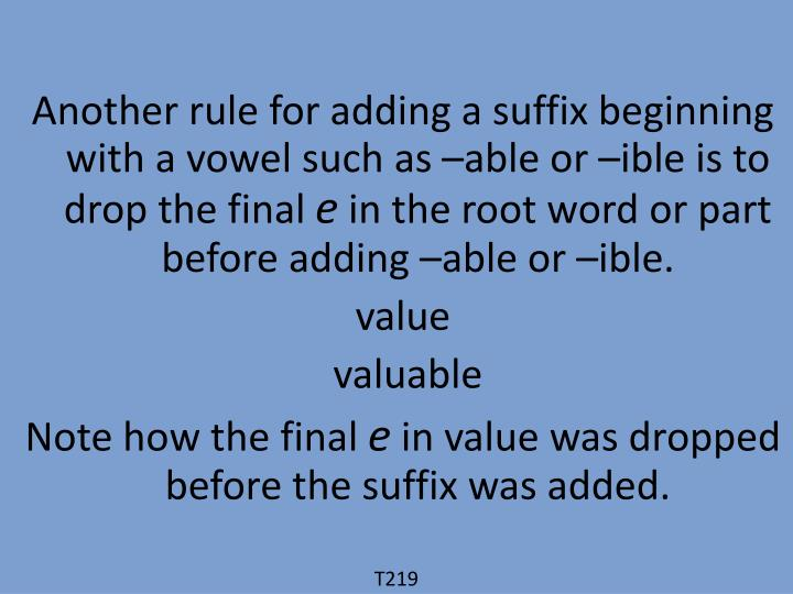 Another rule for adding a suffix beginning with a vowel such as –able or –ible is to drop the final