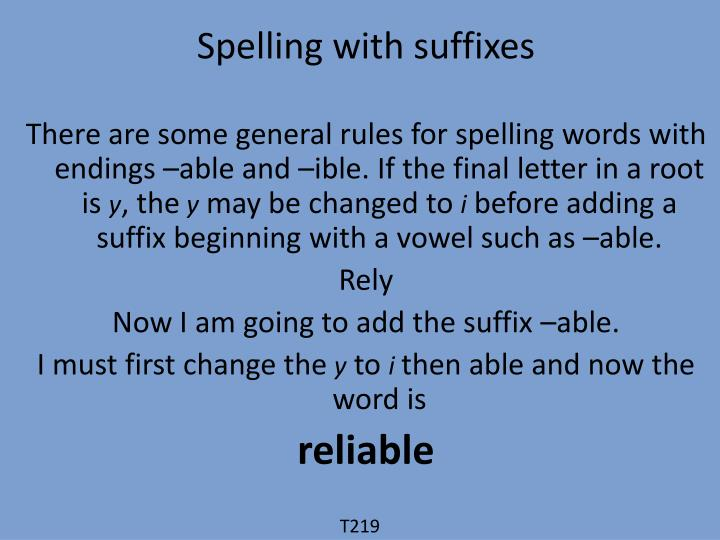 Spelling with suffixes
