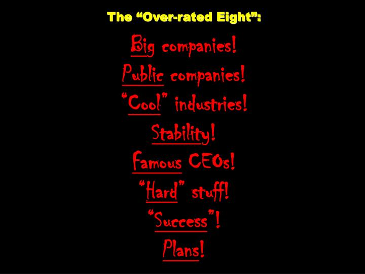 "The ""Over-rated Eight"":"
