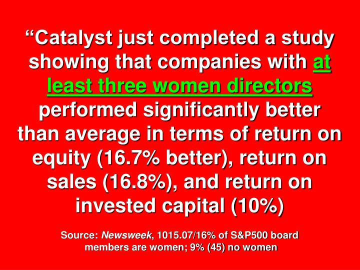 """Catalyst just completed a study showing that companies with"