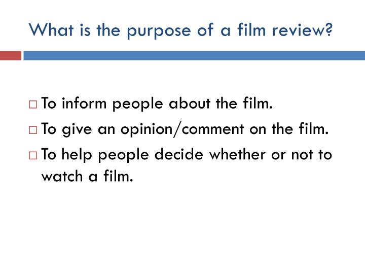 What is the purpose of a film review