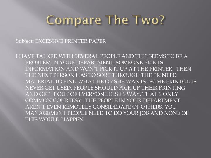 Compare The Two?