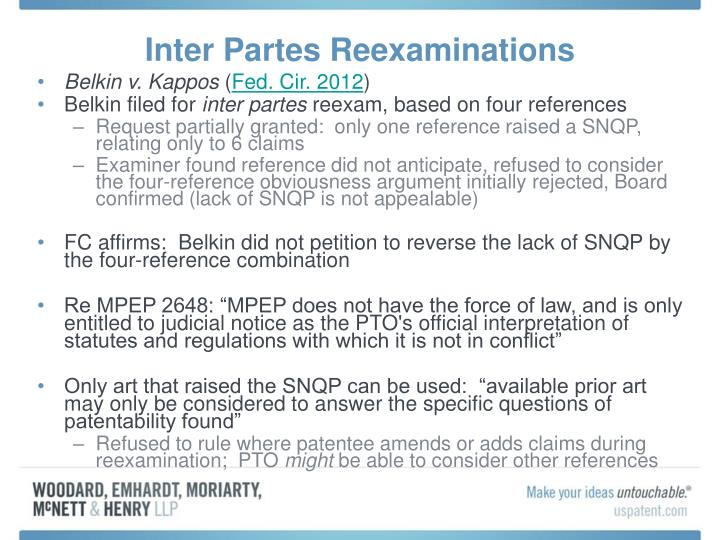Inter Partes Reexaminations