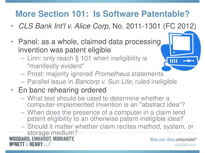 More Section 101:  Is Software Patentable?