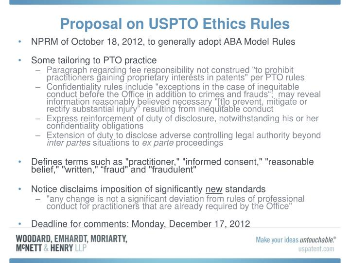 Proposal on USPTO Ethics Rules