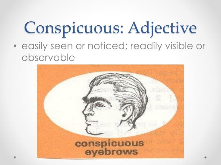 Conspicuous: Adjective