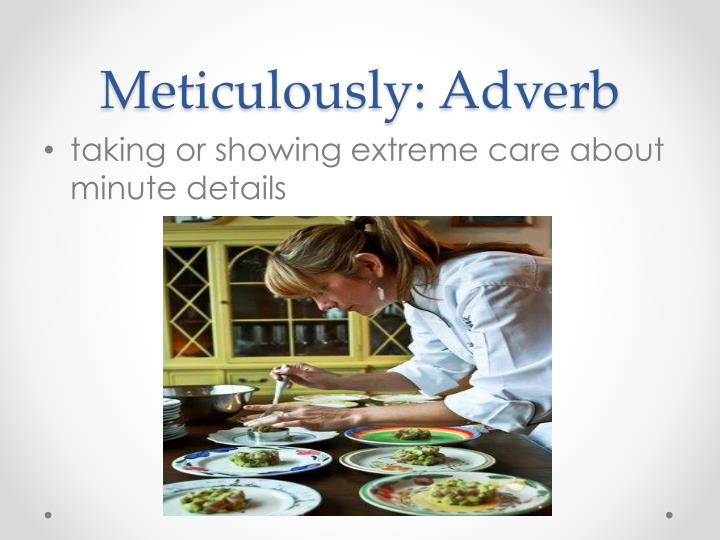 Meticulously: Adverb