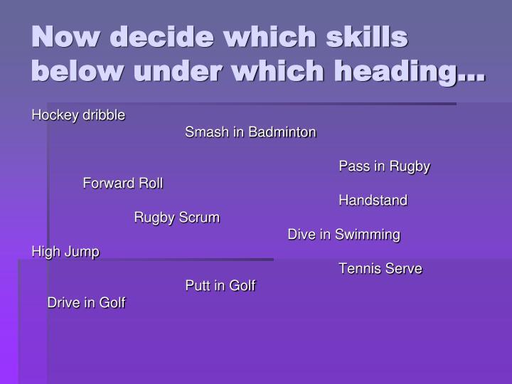Now decide which skills below under which heading…