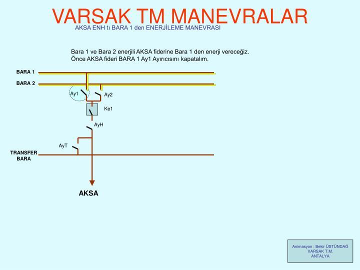 AKSA ENH tı BARA 1 den ENERJİLEME MANEVRASI