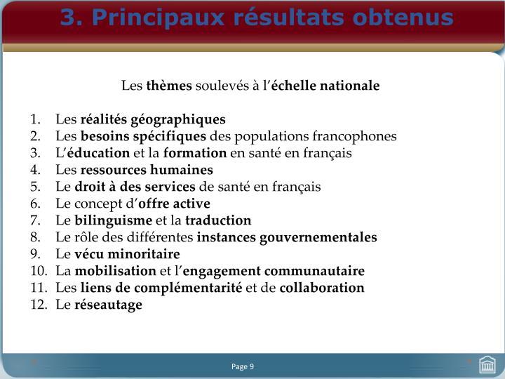 3. Principaux résultats obtenus