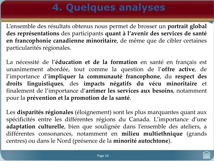 4. Quelques analyses