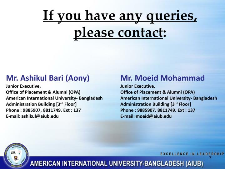 If you have any queries,