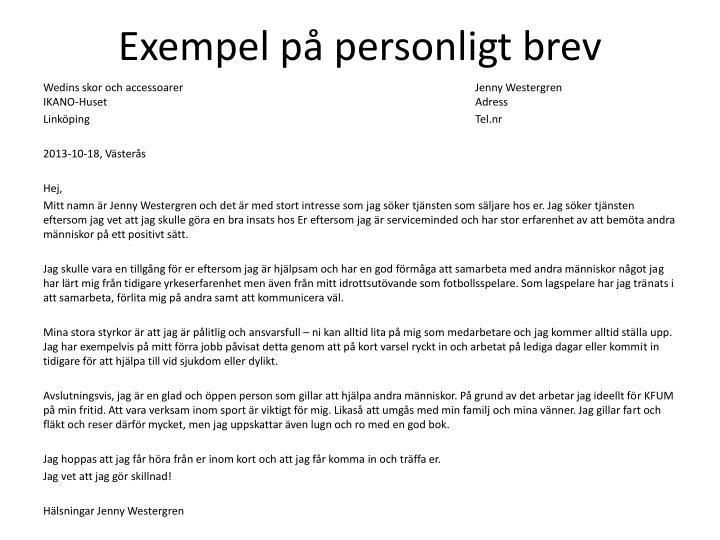 Exempel på personligt brev