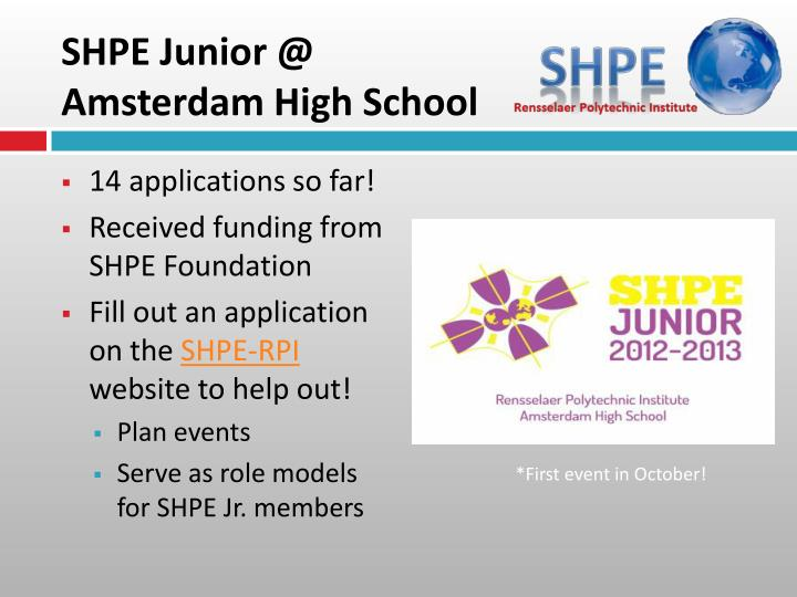 SHPE Junior @ Amsterdam High School